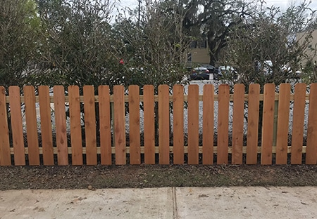 Dog-Ear Wooden Picket Fence | Mandeville Fence Company